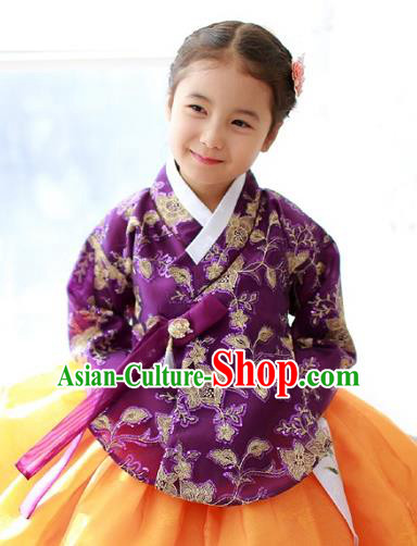Korean National Handmade Formal Occasions Girls Embroidery Hanbok Costume Purple Blouse for Kids