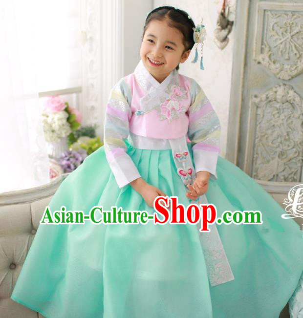 Korean National Handmade Formal Occasions Girls Embroidery Hanbok Costume Pink Blouse and Green Dress for Kids