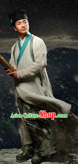 Traditional Chinese Ancient Han Dynasty Scholar Costume, Chinese Three Kingdoms Period Swordsman Hanfu Clothing for Men