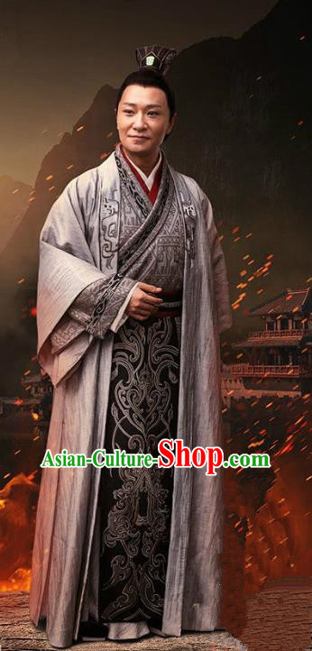 Traditional Chinese Ancient Han Dynasty Emperor Costume, Chinese Three Kingdoms Period Royal Highness Embroidered Hanfu Clothing for Men