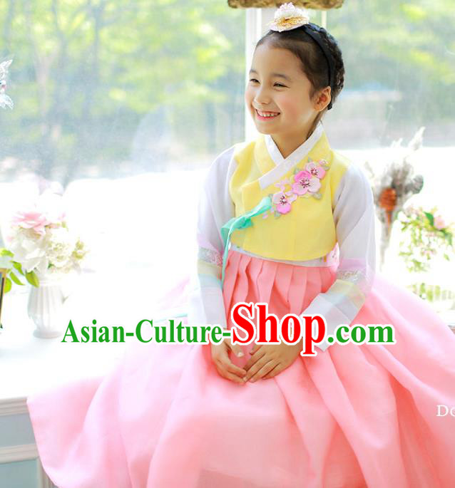 Asian Korean National Handmade Formal Occasions Embroidered Yellow Blouse and Pink Dress Hanbok Costume for Kids