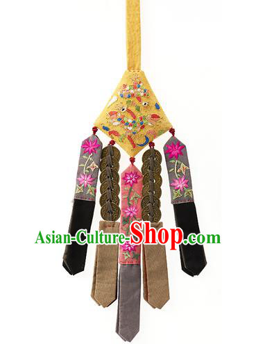 Traditional Korean Accessories Yellow Waist Pendant Embroidered Palace Taeniasis, Asian Korean Wedding Hanbok Copper Cash Tassel Waist Decorations for Women