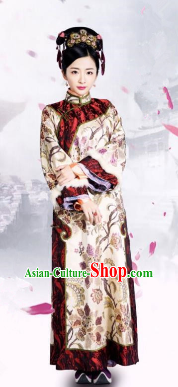 Traditional Chinese Qing Dynasty Palace Lady Costume and Headpiece Complete Set, China Ancient Manchu Princess Mandarin Embroidered Clothing for Women