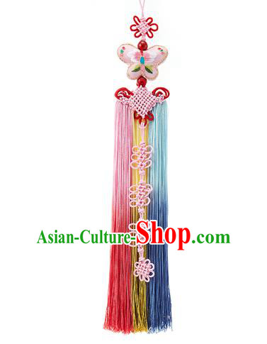 Traditional Korean Accessories Embroidered Pink Butterfly Waist Pendant Chinese Knot Palace Taeniasis, Asian Korean Wedding Hanbok Tassel Waist Decorations for Women