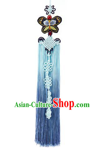 Traditional Korean Accessories Embroidered Black Butterfly Waist Pendant Chinese Knot Palace Taeniasis, Asian Korean Wedding Hanbok Tassel Waist Decorations for Women
