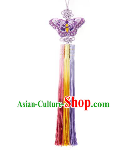 Traditional Korean Accessories Embroidered Purple Butterfly Waist Pendant Chinese Knot Palace Taeniasis, Asian Korean Wedding Hanbok Tassel Waist Decorations for Women
