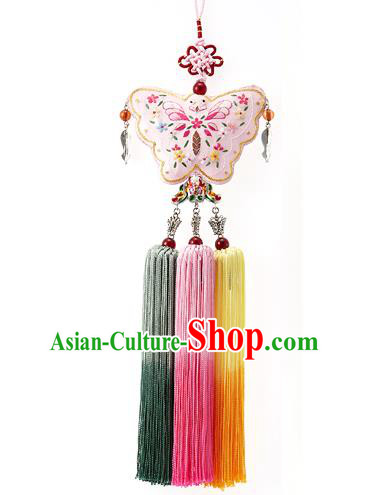 Korean National Accessories Bride Embroidered Pink Butterfly Waist Pendant, Asian Korean Wedding Hanbok Colorful Tassel Palace Taeniasis Waist Decorations for Women