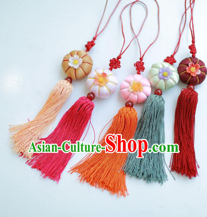 Korean National Accessories Bride Pumpkin Waist Pendant, Asian Korean Wedding Hanbok Tassel Waist Decorations for Women