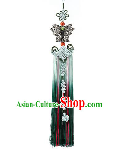Asian Korean Hanbok Green Tassel Waist Decorations, Korean National Belts Accessories Wedding Bride Waist Pendant for Women