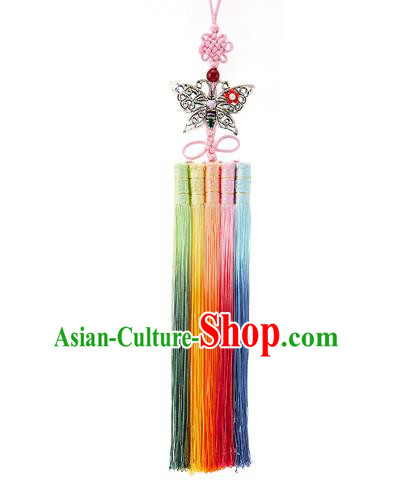 Asian Korean Hanbok Butterfly Colorful Tassel Waist Decorations, Korean National Belts Accessories Wedding Bride Waist Pendant for Women