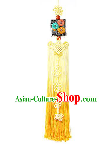 Asian Korean Hanbok Yellow Tassel Waist Decorations, Korean National Belts Accessories Wedding Bride Waist Pendant for Women