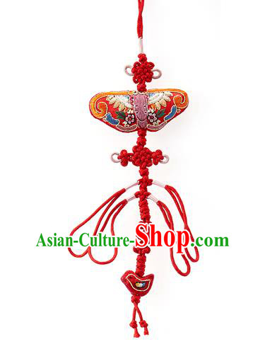 Asian Korean Hanbok Embroidered Red Tassel Waist Decorations, Korean National Belts Accessories Wedding Bride Waist Pendant for Women