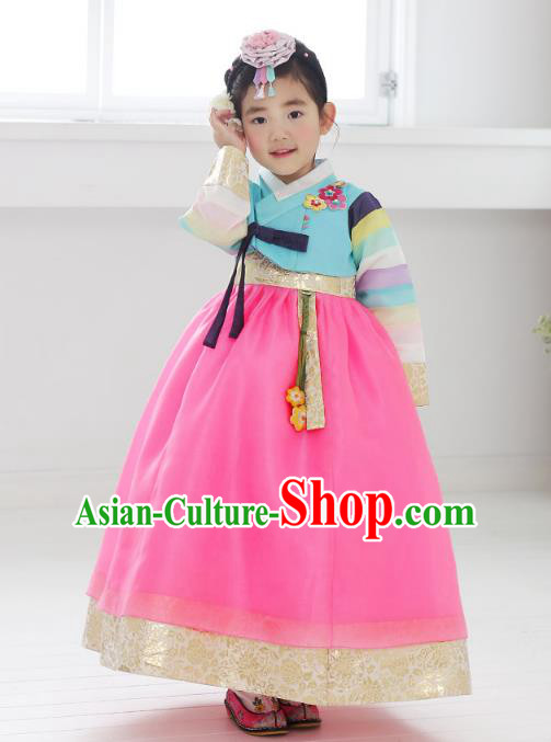 Asian Korean National Handmade Formal Occasions Embroidered Blue Blouse and Pink Dress Hanbok Costume for Kids