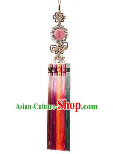 Korean National Belts Accessories Bride Wedding Hanbok Pink Bead Waist Pendant, Asian Korean Tassel Chinese Knot Waist Decorations for Women