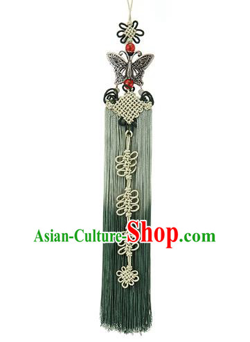 Korean National Belts Accessories Bride Wedding Hanbok Green Tassel Waist Pendant, Asian Korean Butterfly Chinese Knot Waist Decorations for Women