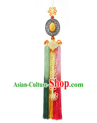 Asian Korean Yellow Chinese Knot Tassel Waist Decorations, Korean National Belts Accessories Bride Wedding Hanbok Waist Pendant for Women