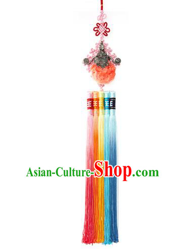 Asian Korean Hanbok Tassel Waist Decorations, Korean National Belts Accessories Bride Wedding Waist Pendant for Women