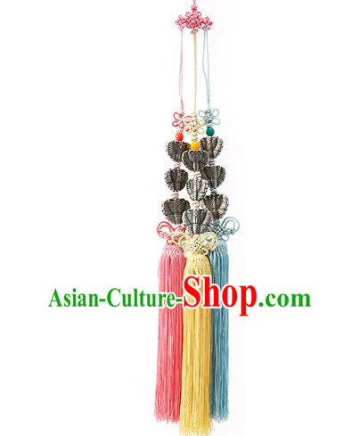 Asian Korean Hanbok Chinese Knot Tassel Waist Decorations, Korean National Belts Accessories Wedding Bride Waist Pendant for Women