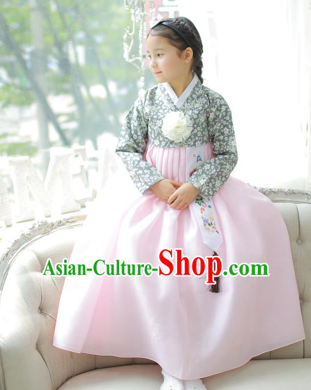 Asian Korean National Handmade Formal Occasions Printing Blouse and Pink Dress Hanbok Costume for Kids