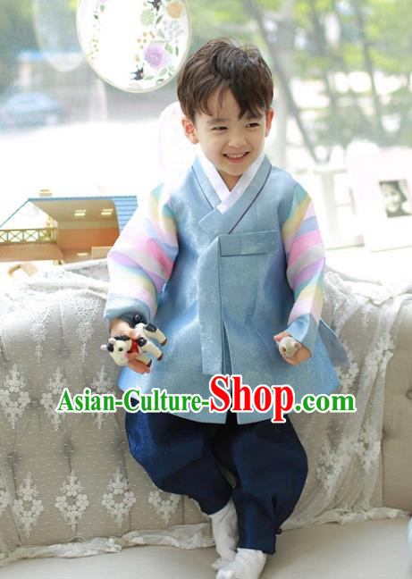 Asian Korean National Traditional Handmade Formal Occasions Boys Prince Blue Hanbok Costume Complete Set for Kids