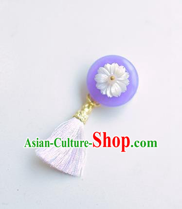 Korean National Accessories Purple Tassel Brooch, Asian Korean Hanbok Fashion Breastpin for Kids
