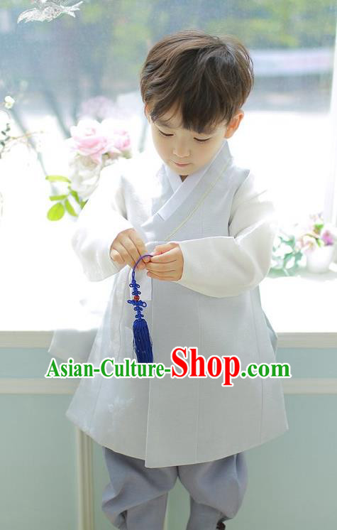 Asian Korean National Handmade Formal Occasions Embroidered Palace Prince White Hanbok Costume Complete Set for Boys