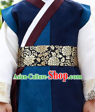 Traditional Korean Accessories Palace Prince Embroidered Waist Belts, Asian Korean Fashion Waistband Decorations for Kids