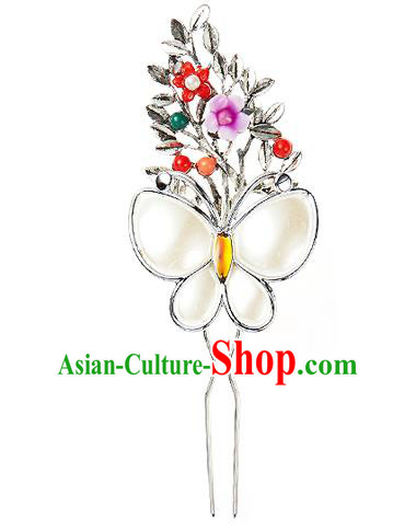 Traditional Korean National Hair Accessories Butterfly Flowers Hairpins, Korean Palace Hanbok Fashion Headwear for Women