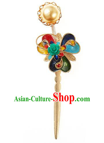 Traditional Korean National Hair Accessories Golden Hairpins, Korean Palace Hanbok Fashion Headwear for Women