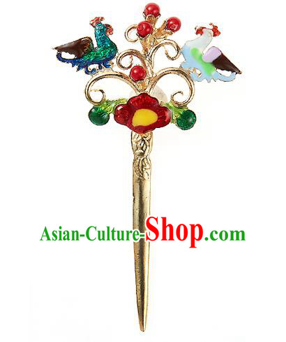 Traditional Korean National Hair Accessories Mandarin Duck Hairpins, Korean Palace Hanbok Fashion Headwear for Women