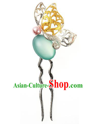 Traditional Korean National Hair Accessories Opal Butterfly Hairpins, Korean Palace Hanbok Fashion Headwear for Women