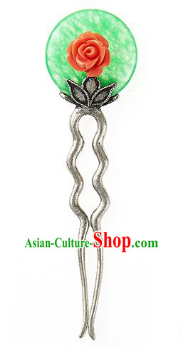 Traditional Korean National Hair Accessories Rose Hairpins, Korean Palace Hanbok Fashion Headwear for Women
