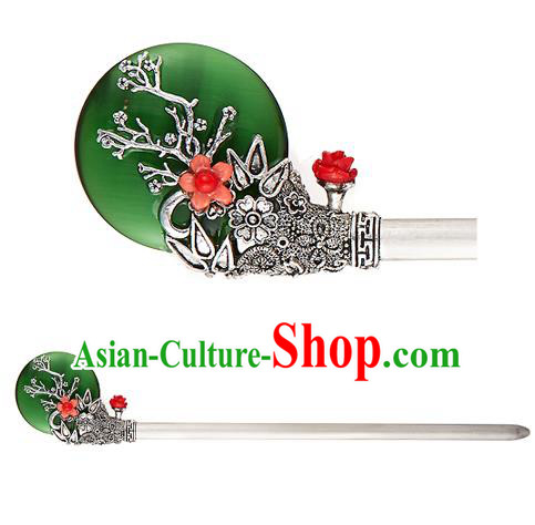 Traditional Korean National Hair Accessories Jade Flower Hairpins, Korean Palace Hanbok Fashion Headwear for Women