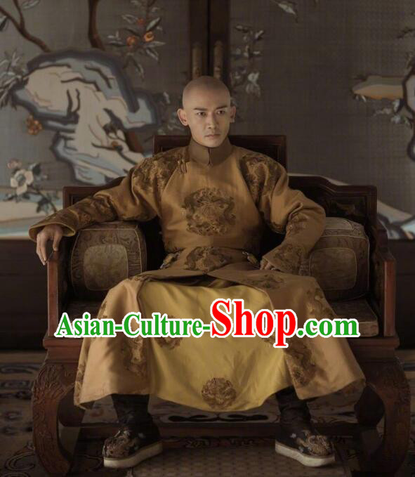 Story of Yanxi Palace Traditional Chinese Qing Dynasty Imperial Emperor Costume, Chinese Ancient Manchu Majesty Mandarin Embroidered Informal Clothing for Men