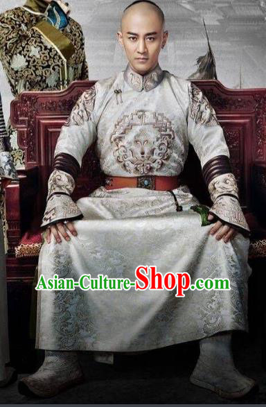Traditional Chinese Qing Dynasty Prince Costume, Chinese Ancient Manchu Royal Highness Mandarin Embroidered Informal Clothing for Men