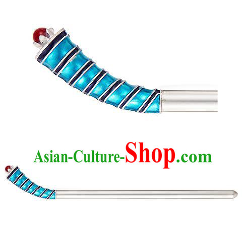 Traditional Korean National Hair Accessories Hair Stick Blue Hairpins, Korean Palace Hanbok Fashion Headwear for Women