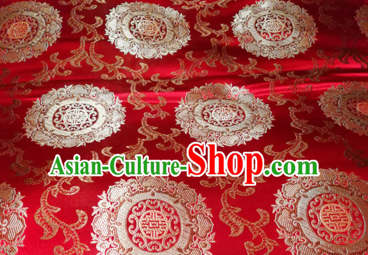 Red Traditional Chinese Round Flower Brocade Fabric