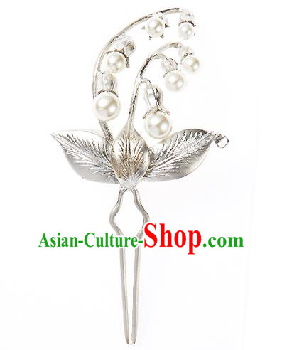 Korean National Wedding Hair Accessories Bride Pearls Hairpins, Korean Hanbok Fashion Palace Hair Stick for Women