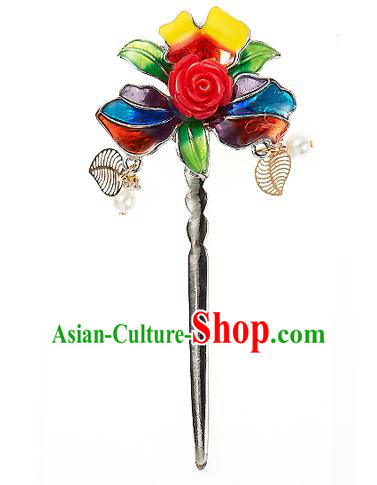 Korean National Wedding Hair Accessories Bride Colorful Hairpins, Korean Hanbok Fashion Palace Hair Clasp for Women