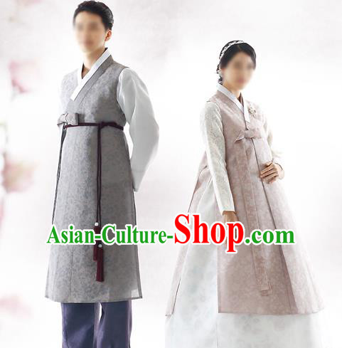Asian Korean National Traditional Handmade Formal Occasions Bride and Bridegroom Wedding Hanbok Costume Complete Set