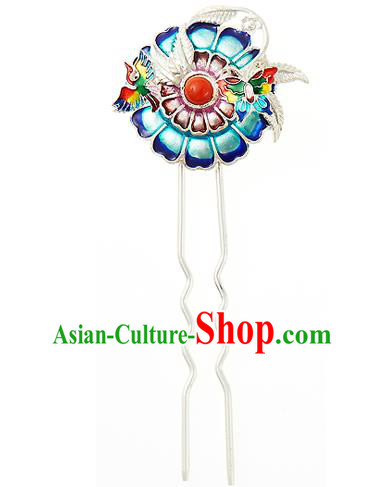 Korean National Wedding Hair Accessories Bride Hair Clip, Korean Hanbok Fashion Palace Blueing Hairpins for Women