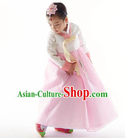 Asian Korean National Handmade Formal Occasions White Blouse and Pink Dress Palace Hanbok Costume for Kids
