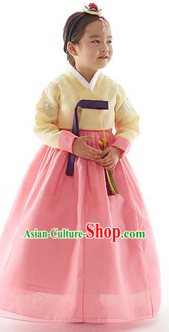 Asian Korean National Handmade Formal Occasions Yellow Blouse and Pink Dress Palace Hanbok Costume for Kids