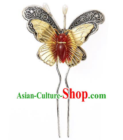 Korean National Wedding Hair Accessories Bride Butterfly Hair Clip, Korean Hanbok Fashion Palace Hairpins for Women