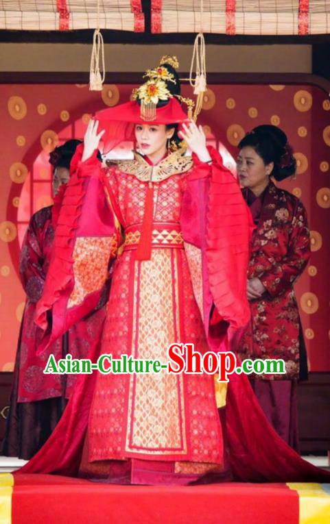 Traditional Chinese Song Dynasty Princess Wedding Costume, Asian China Ancient Palace Lady Embroidered Red Dress Clothing for Women