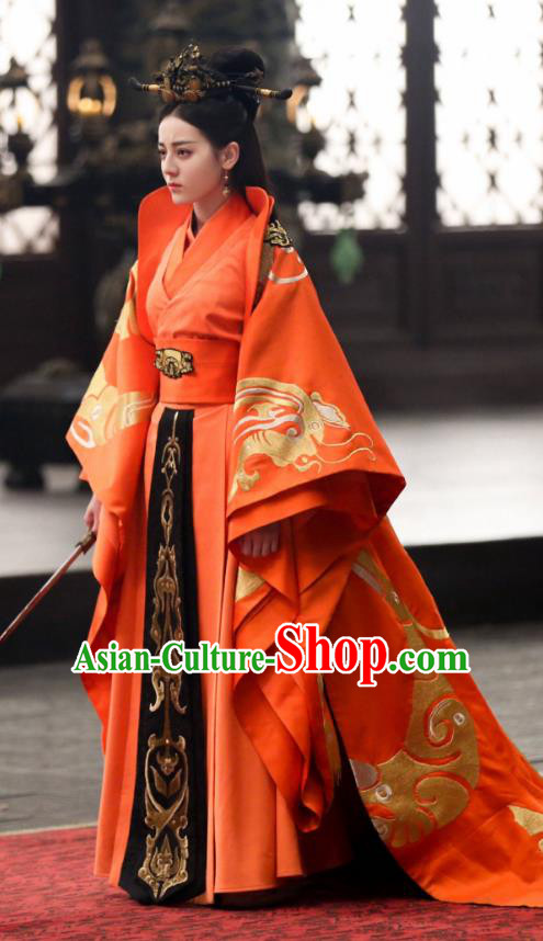 Traditional Chinese Qin Dynasty Imperial Empress Costume, Asian China Ancient Palace Lady Embroidered Tailing Clothing for Women
