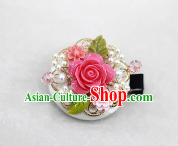 Korean National Hair Accessories Rosy Flower Hair Stick, Asian Korean Hanbok Fashion Headwear Headband for Kids
