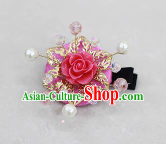 Korean National Hair Accessories Flower Rosy Hair Stick, Asian Korean Hanbok Fashion Headwear Headband for Kids