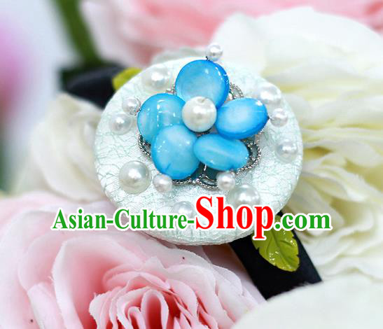 Korean National Hair Accessories Blue Flower Hair Stick, Asian Korean Hanbok Fashion Headwear Headband for Kids