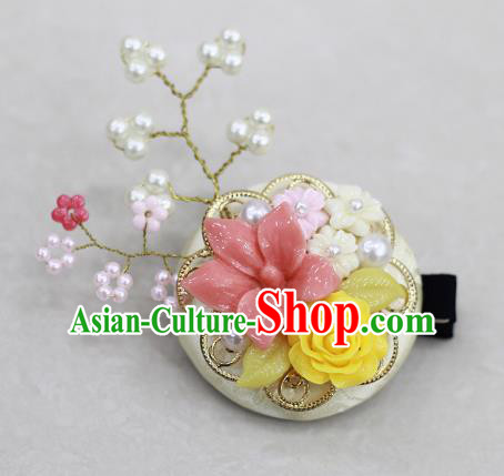 Korean National Hair Accessories Pink Flowers Hair Stick, Asian Korean Hanbok Fashion Headwear Headband for Kids